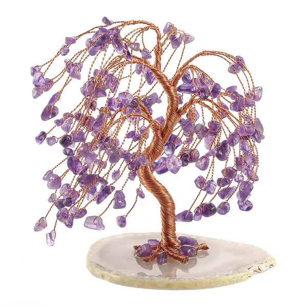 jovivi natural amethyst chakras healing stone home decor tree of life feng shui healing, front side, asd03620