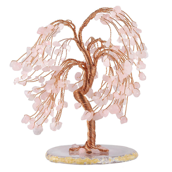 Jovivi natural rose quartz tree of life chip stone money tree home decor for healing reiki, front side, asd03620