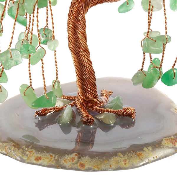 jovivi natural green aventurine chip stones crystal tree with natural agate slices base, asd003620