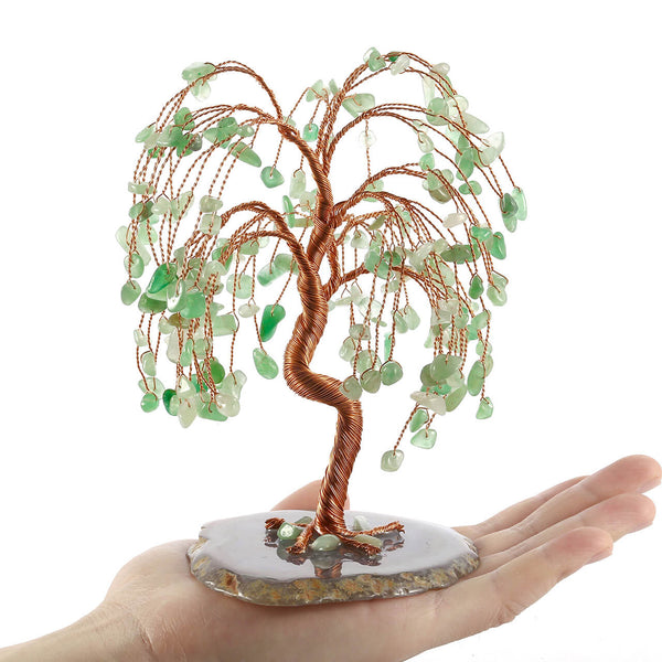 jovivi natural Green Aventurine feng shui ornament tree of life reiki home figurine