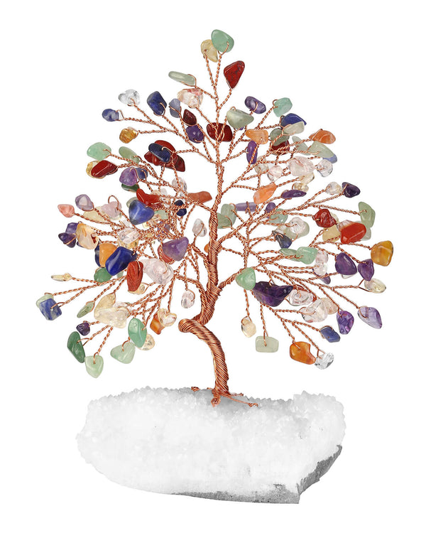 asd036501 Jovivi Natural Handmade Gemstone Copper Wire Wrapped Chakra Tree of Life Money Tree Figurine