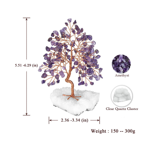 Jovivi 7 Chakra Money Tree Decor Clear Quartz Cluster Decor for Reiki, Good Luck, Feng Shui