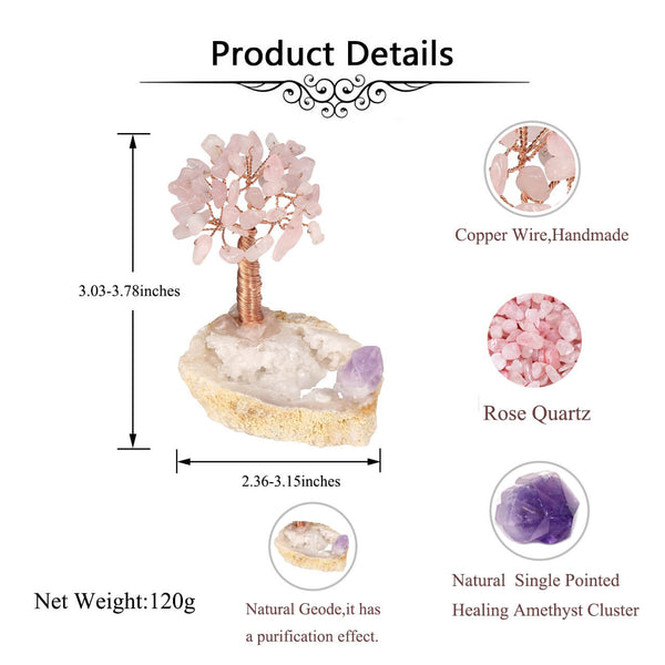 Jovivi Healing Chakra Money Tree Ornaments Crystals Copper Cluser Geode Agate Base Home Desk Decoration Health Wealth Feng Shui Luck