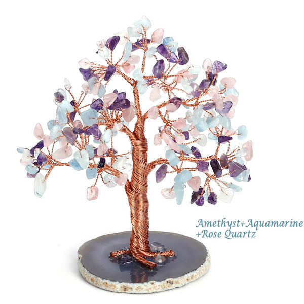 asd039503 jovivi Aquamarine crystal gemstones home decoration tree of life healing gemstones tree lucky and wealth