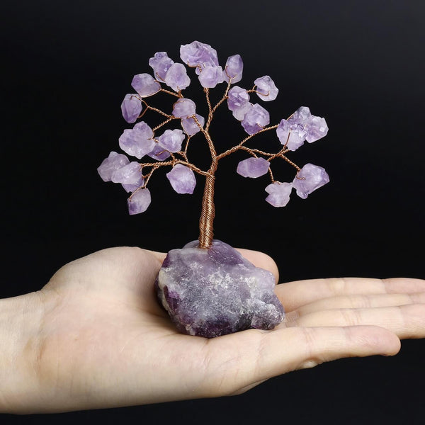 asd040601 Jovivi amethyst reiki healing money tree home figuine