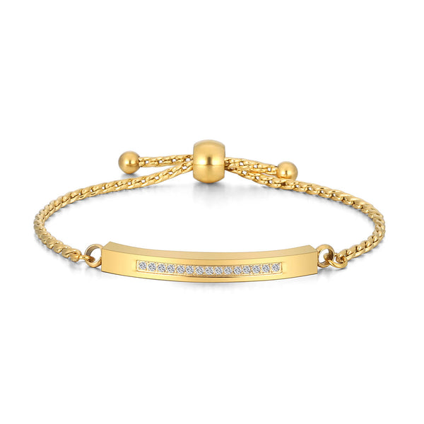 jovivi gold customized name bar bracelet for ashes, CZ on the front side, jbw04920