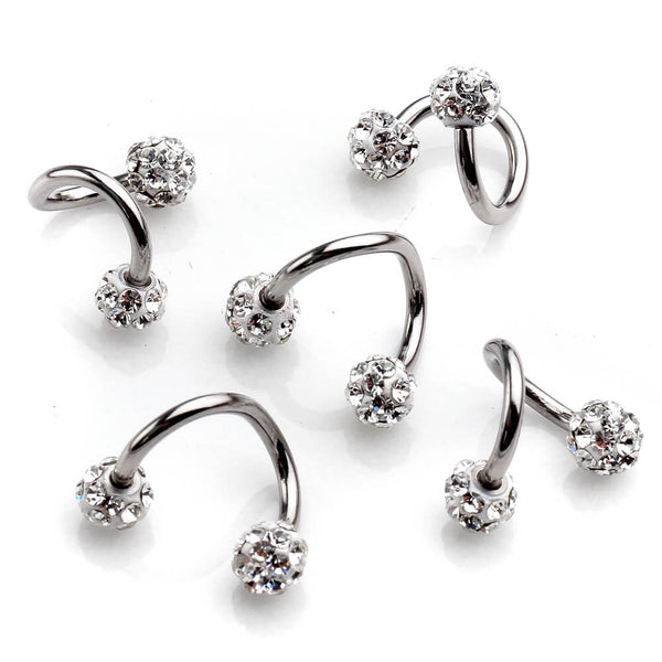 Jovivi 8mm S Shape Twist Helix Cartilage Earrings Multi-functional Piercing Rings