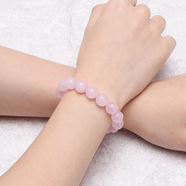 Jovivi 10mm rose quartz beaded bracelet for men and women, jjb06311