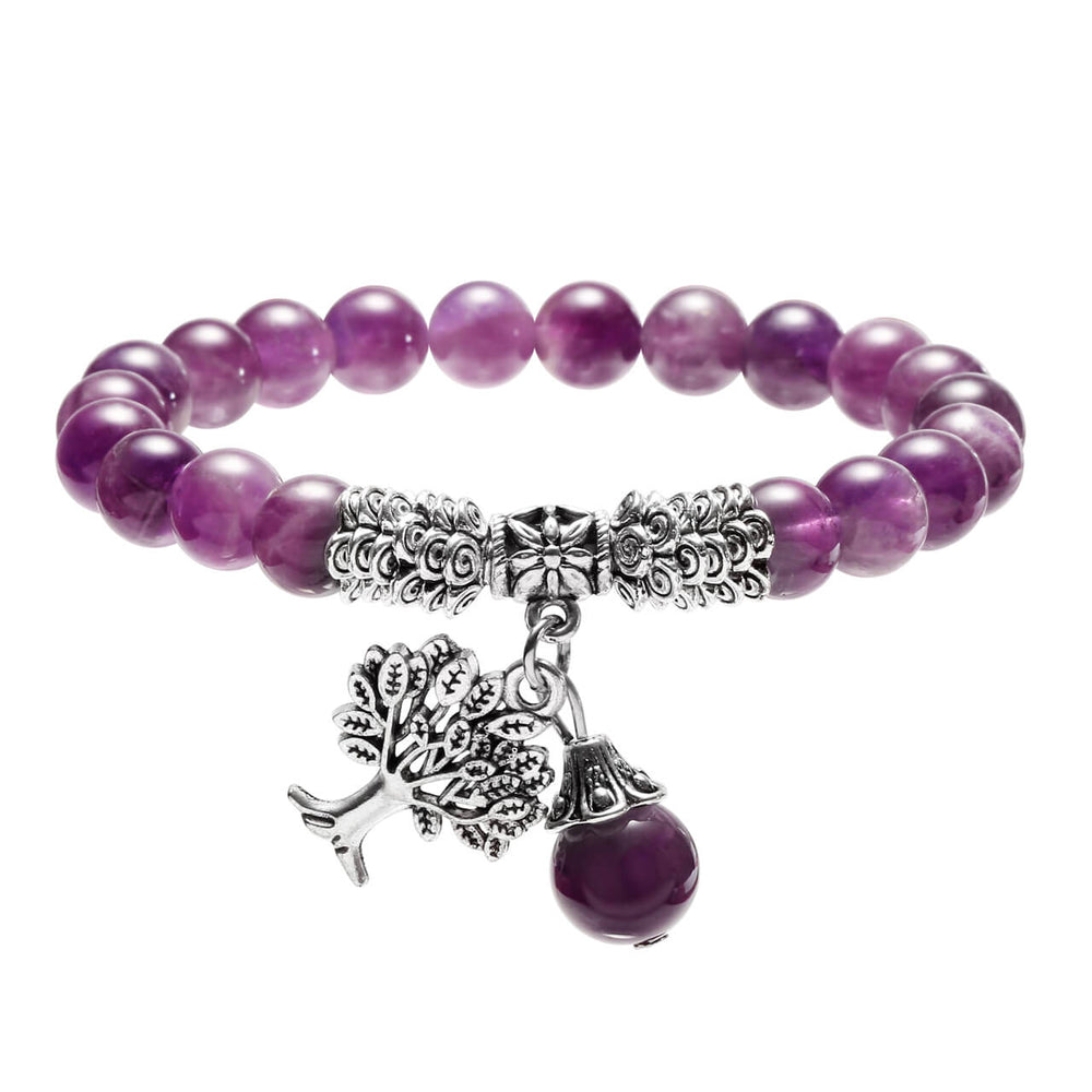 Jovivi Natural Healing Gemstone Tree of Life Lucky Charm Stretch Balancing Bracelet