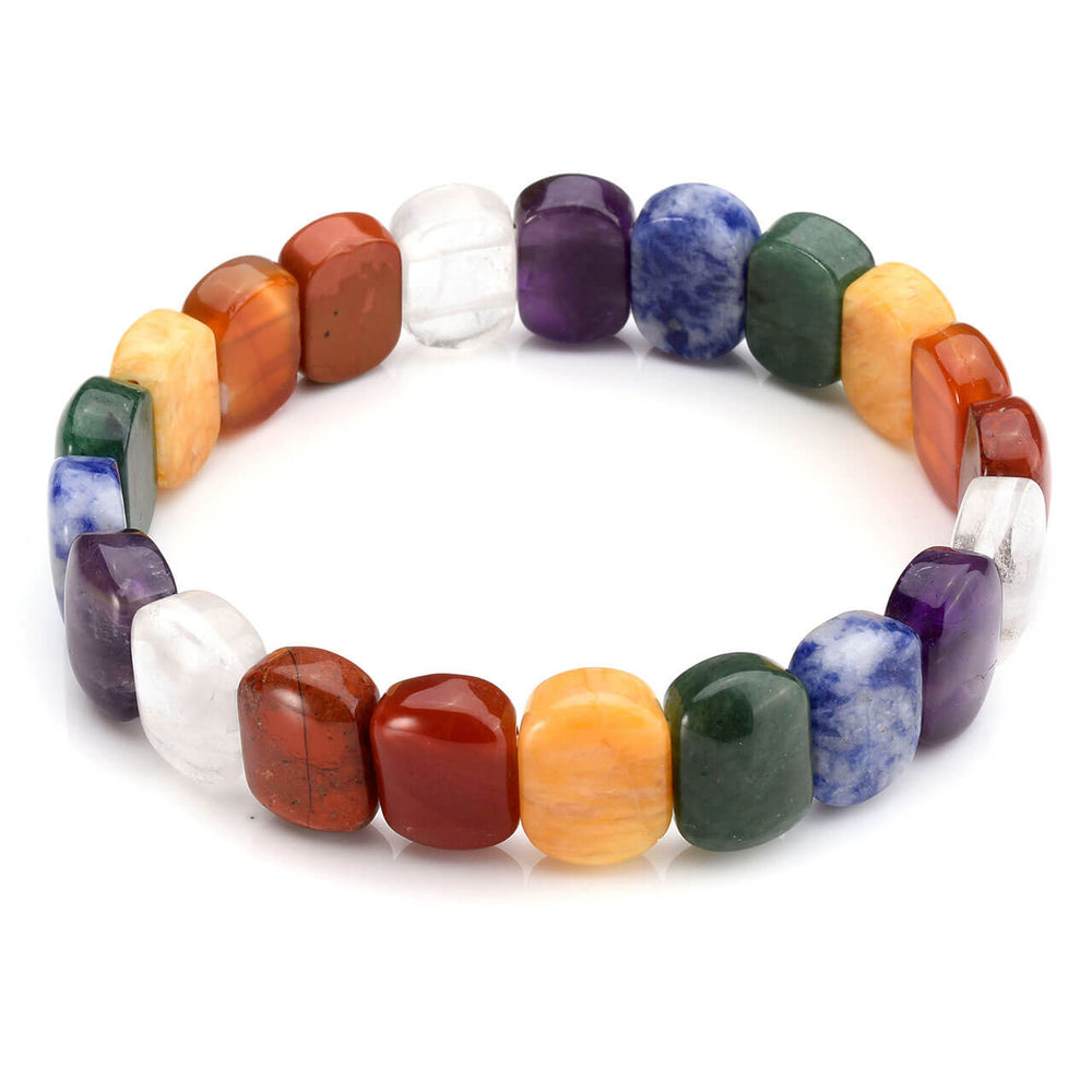 "Jovivi 7 Chakra Tumbled Gemstone Facted Oval Beads Stretch Bracelet 7.5"" Unisex"