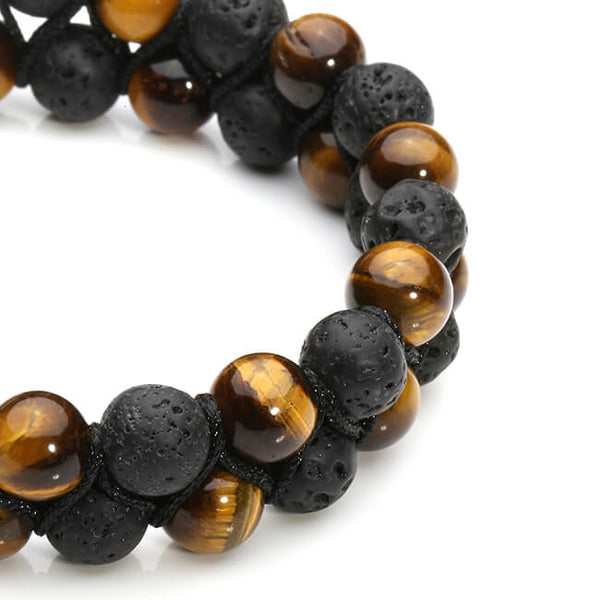 Jovivi Lava Rock Stone Essential Oil Diffuser Bracelet Hematite Beads Double Layer Bracelets