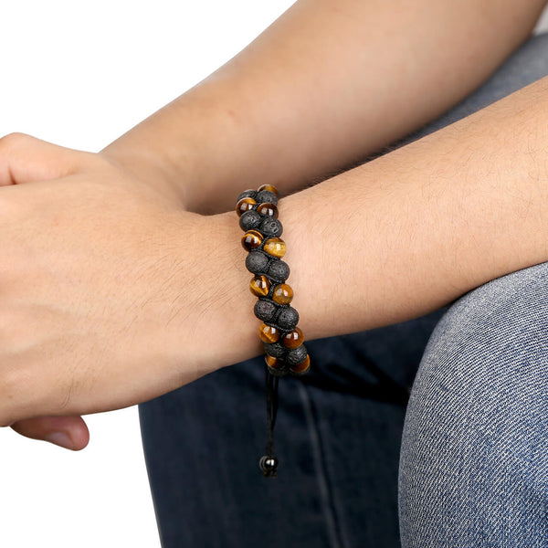 Jovivi Lava Rock Stone Essential Oil Diffuser Bracelet Tiger Eye Double Layer Bracelets, jjb07800