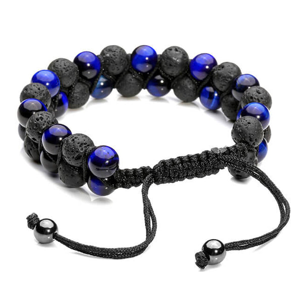 Jovivi Lava Rock Stone Essential Oil Diffuser Bracelet Tiger Eye Beads Double Layer Bracelets Macrame Adjustable Braided