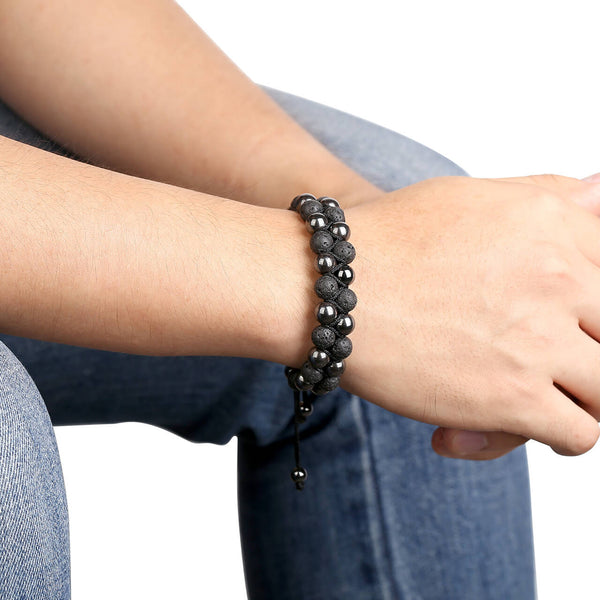 jovivi hematite beads bracelet for men, jjb07800