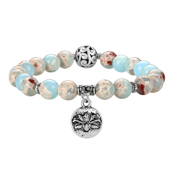 jovivi natural jasper beaded bracelet with lotus charm, jjb082907