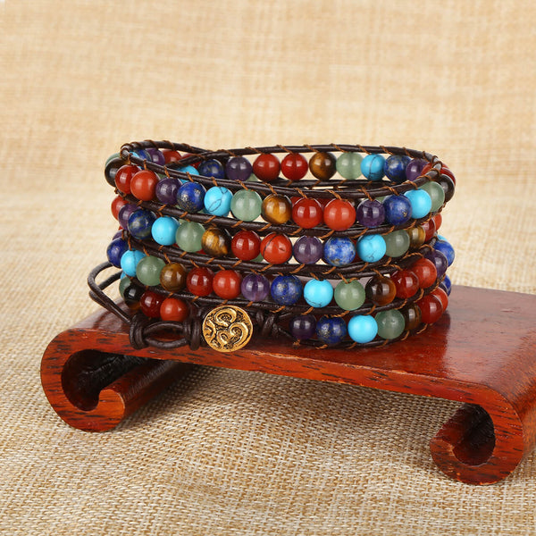 Jovivi natural 7 chakras healing crystal jewekry yoga energy bracelet