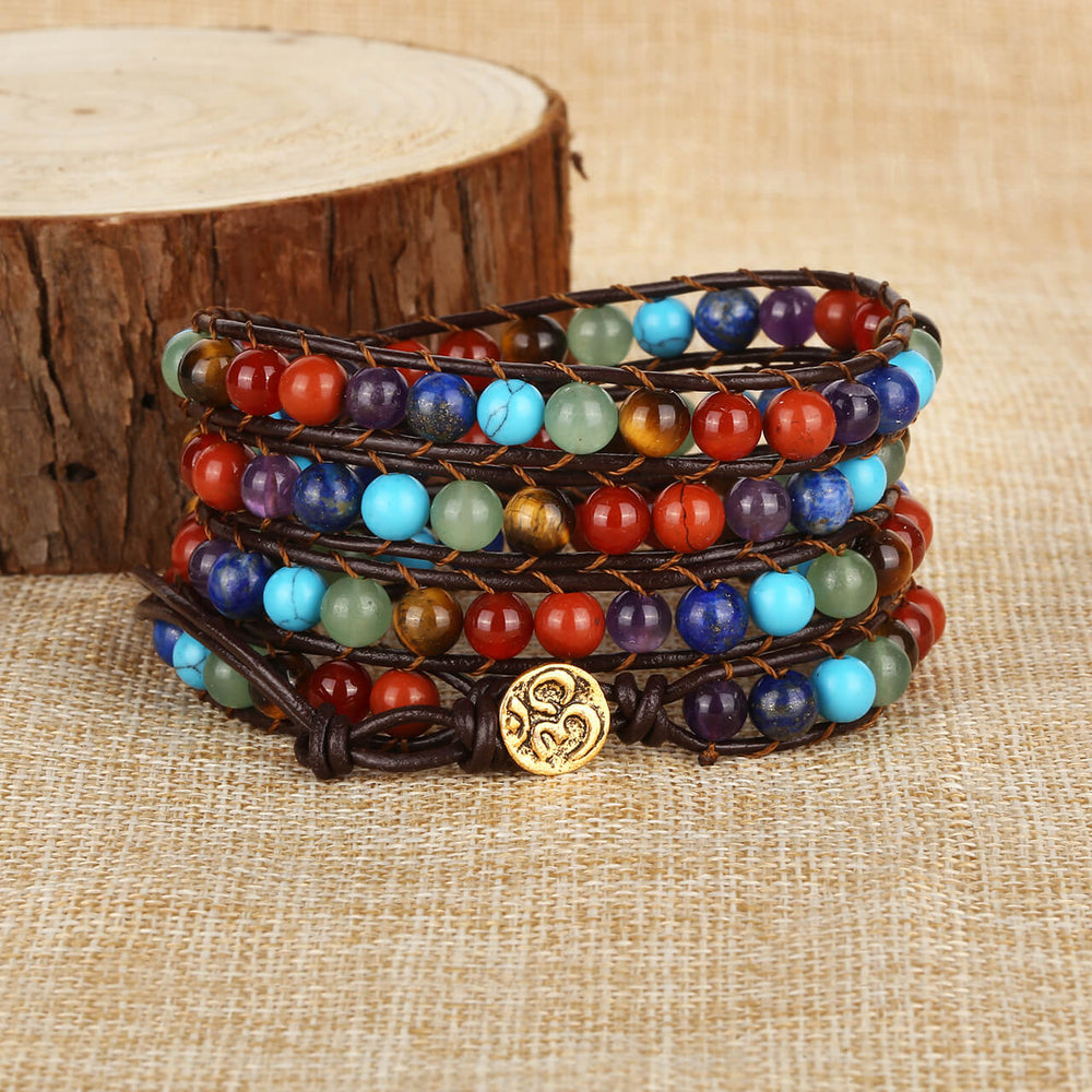 Jovivi 7 Chakras Healing Crystal Beads Leather Braided Wrap Bracelet for women and men
