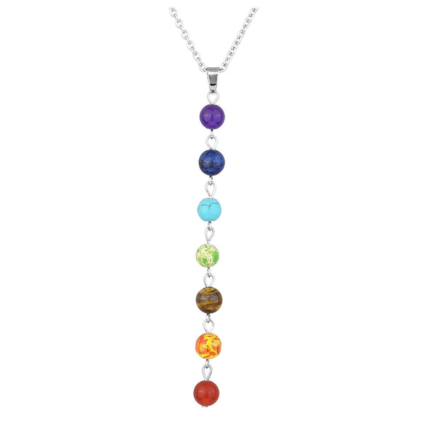 Jovivi Women 8mm Stone Chakras Beads Pendant Necklace Chain with 7 Chakras Pendulum
