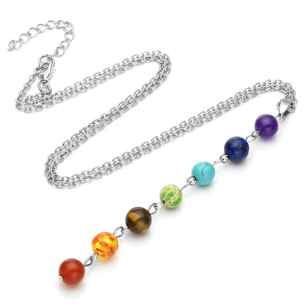 Jovivi Women 8mm Stone Chakras Beads Pendant Necklace Chain with 7 Chakras Pendulum healing necklace