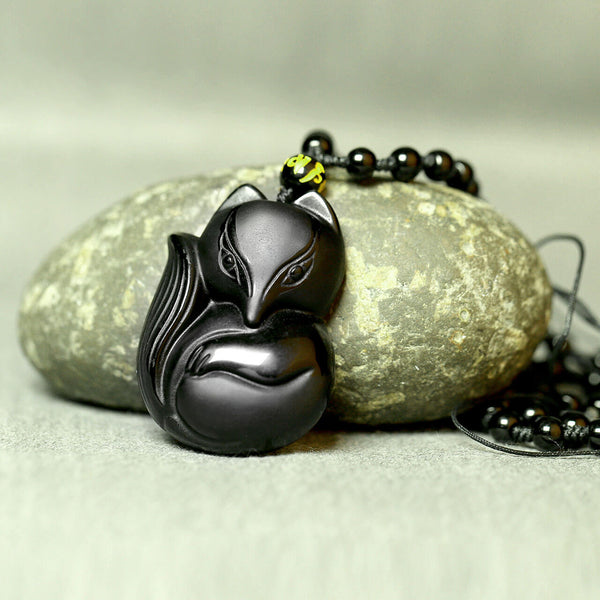 Jovivi Hand Carved Natural Genuine Obsidian Fox Empress Amulet Pendant Necklace Adjustable