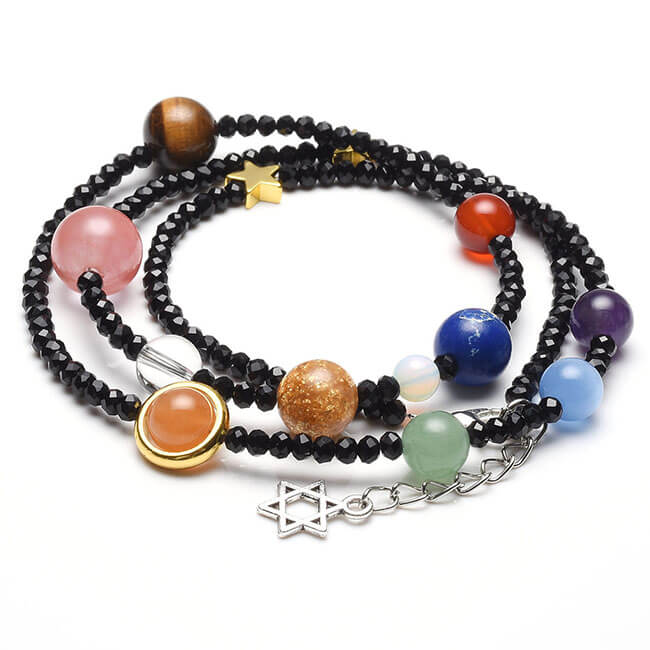 Jovivi Unique Solar System Nine Planets Bracelet - 3MM Beads