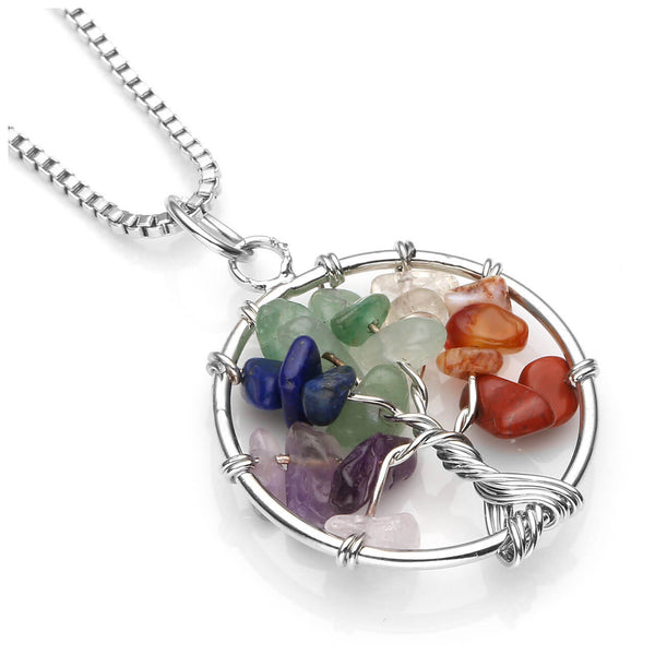 Jovivi personalize customize 7 Chakras Gemstone Charms Crystal Quartz Tree of Life Pendant Necklace engrave necklace