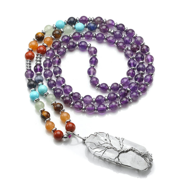 Jovivi amethyst beaded necklace with clear quartz tree of life pendant