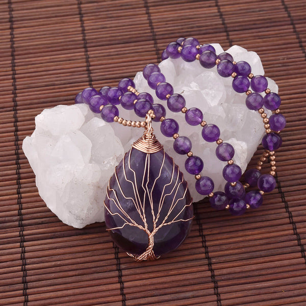 Jovivi healing crystals pendant necklace for women handmade tree of life wire wrapped pendant