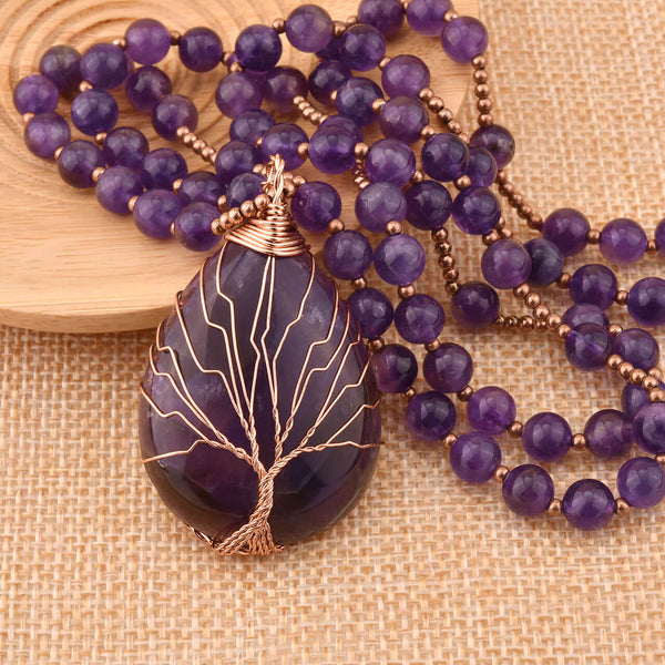 Jovivi tree of life wire wrapped amethyst pendant necklace for women, jjn07140