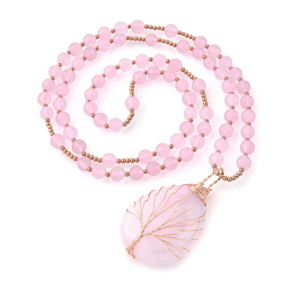 Jovivi chakras healing crystal pendant necklace rose quartz necklace