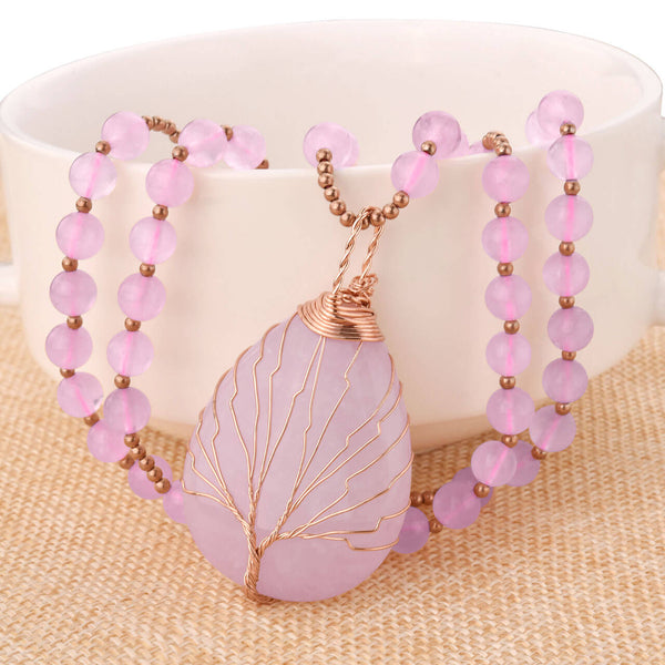 Jovivi rose quartz tree of life pendant necklace chakras healing reiki necklace