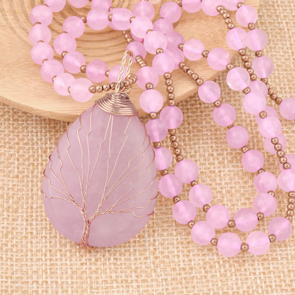 Jovivi rose quartz 7 chakras crystals necklace healing reiki jewelry for women, jjn07140