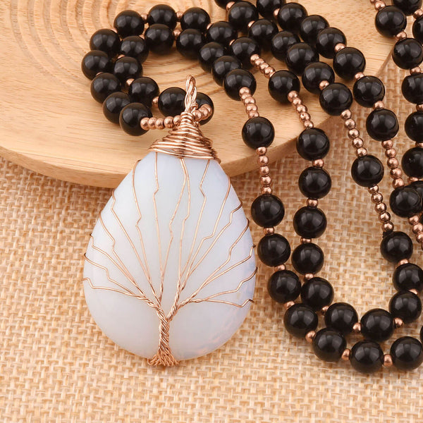 Jovivi Natural Crystal Necklace Tree of Life Wire Wrapped Teardrop Gemstone Pendant