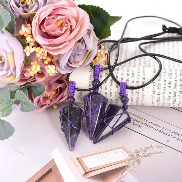jovivi natural amethyst reiki healing crystal necklace for mother, left side