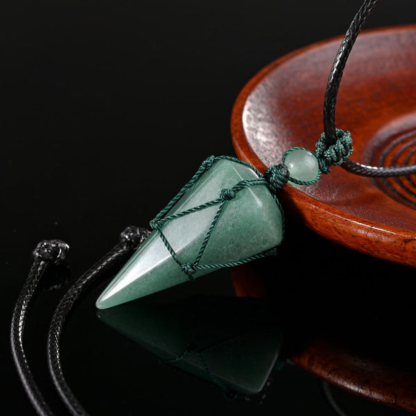 Green Aventurine pointed healing crystal necklace thanksgiving day gift