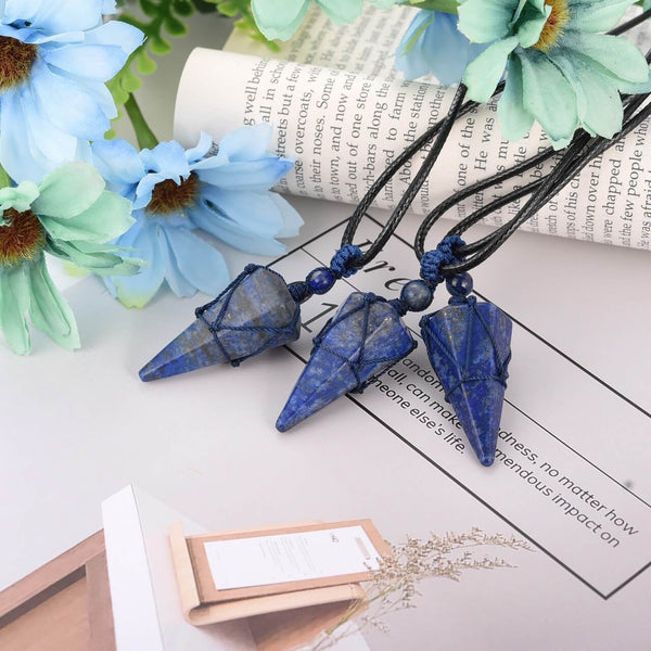 3pcs lapis lazuli pointed pendant, Smooth surface,front side, jjn071606