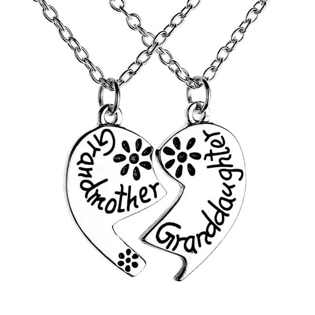 Jovivi 2pcs Heart Shape Grandmother Granddaughter Family Pendant Necklace