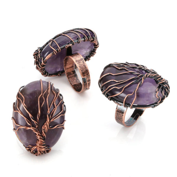 jkr012401 copper wires wrapped amethyst gemstones ring for women daily use