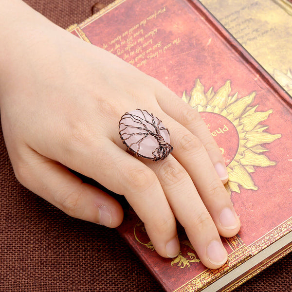 jkr012402 Jovivi Vintage Tree of Life Copper chakras jewelry Finger Ring