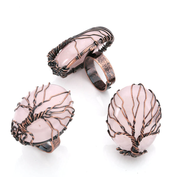 jkr012402 rose quartz tree of life ring gemstone jewelry for women