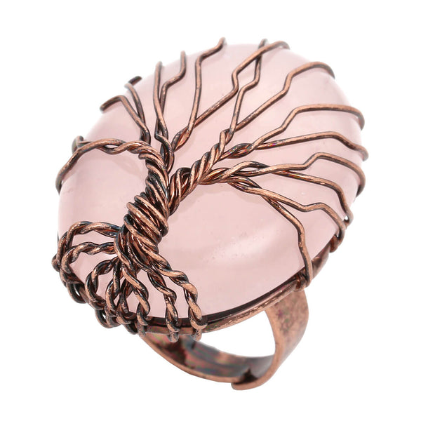 jkr012402 Handmade wire wrapped copper chakra gemstone beads band finger ring