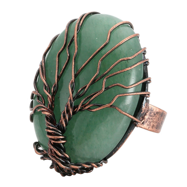 jkr012403 natural green aventurine handmade wire wrapped tree of life rings for women