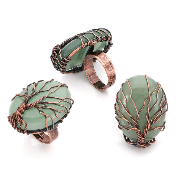 Jovivi Handmade Vintage Ring Copper Wire Wrapped Tree of Life Oval Gemstone Bronze Band