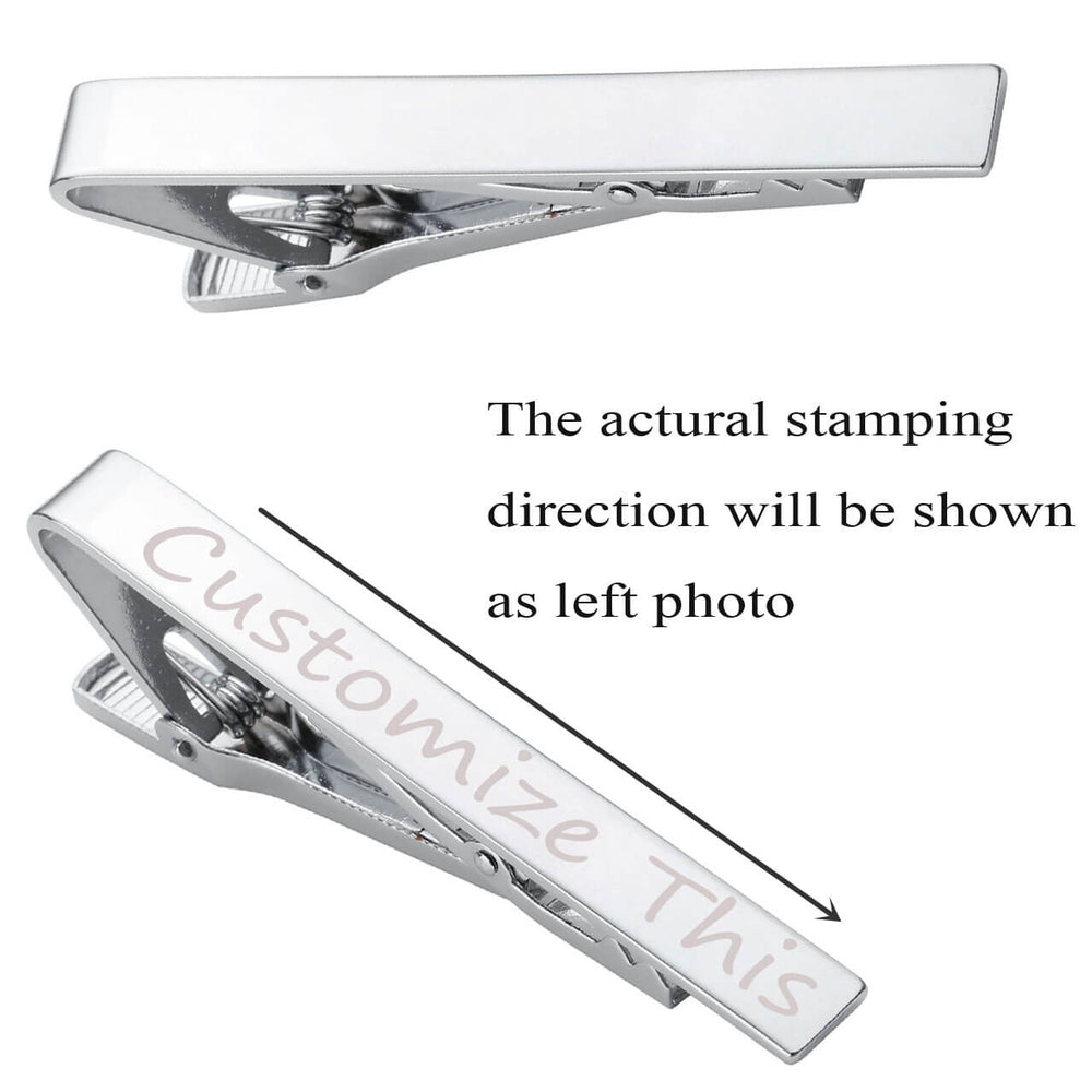 Jovivi Personalized Engraving Stainless Steel Mens Mirror Tie Bar Clip