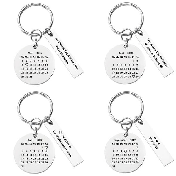 JOVIVI Custom Keychain - Personalized Special Date Calendar Stainless Steel Keychain with Rectangle Dog Tag for Couples Family Best Friends Anniversary Gift