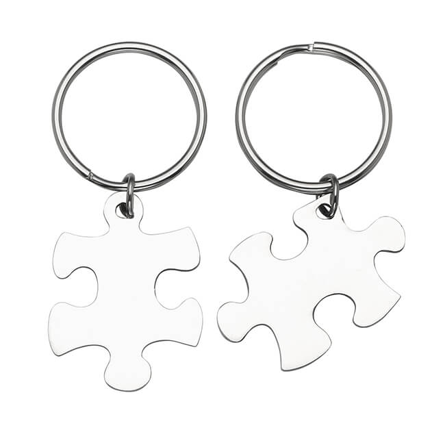 Customize Puzzle Name Message Keychain Set for Couples Best Friend Friendship Keyring