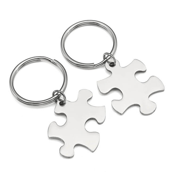 JOVIVI Stainless Steel Couples Keychains Set Keyring Engraved Name Message Best Friend Friendship Gift