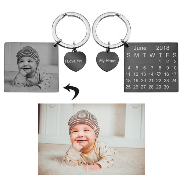 Jovivi personalize photo engrave calendar keychain for your loved one