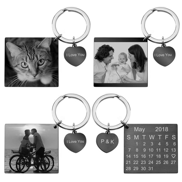 Jovivi personalized custom calendar photo tag keychain set for women