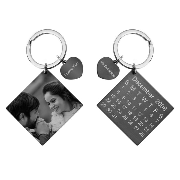 Jovivi Personalized Custom Photo Calendar Keychain Dog Tag Keyring Memorial Keepsake Anniversary Gift